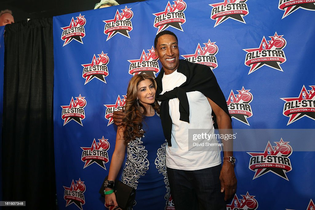 NBA Legend Scottie Pippen and wife Larsa pose on the All-Star Red Carpet prior to the 2013 NBA All-Star Game presented by Kia Motors on February 17, 2013 at the Toyota Center in Houston, Texas.
