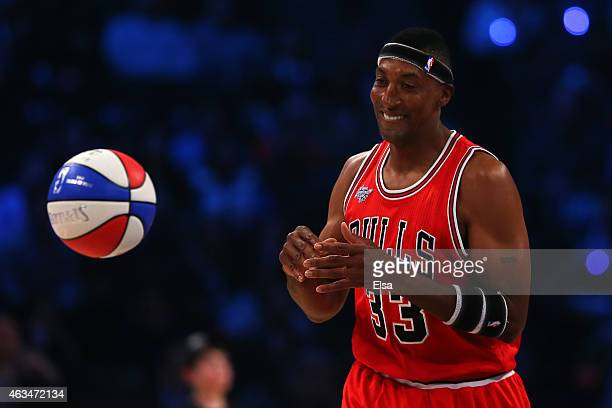 Legend Scottie Pippen competes during the Degree Shooting Stars Competition as part of the 2015 NBA Allstar Weekend at Barclays Center on February 14...