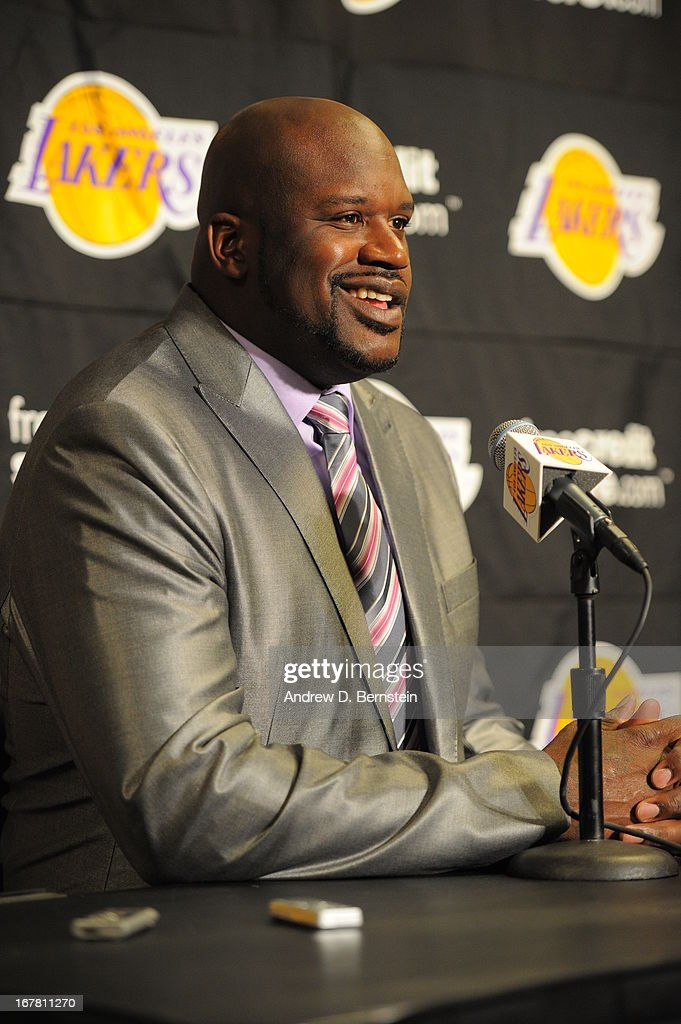 NBA legend Shaquille O'neal does a press conference before the game against the Dallas Mavericks at Staples Center on April 2, 2013 in Los Angeles, California.