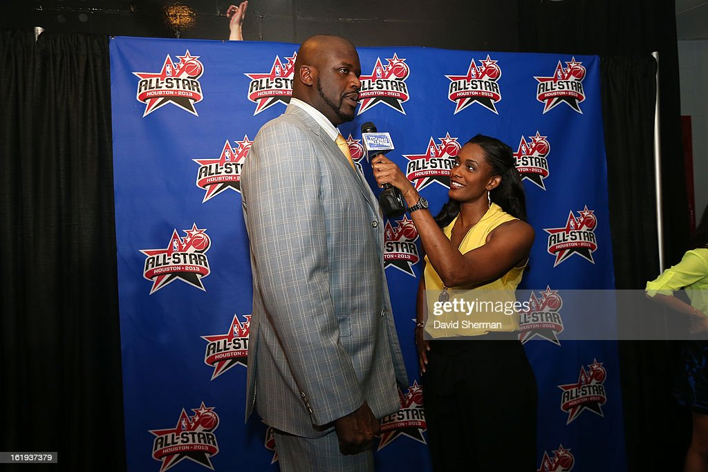 NBA Legend <a gi-track='captionPersonalityLinkClicked' href=/galleries/search?phrase=Shaquille+O%27Neal&family=editorial&specificpeople=201463 ng-click='$event.stopPropagation()'>Shaquille O'Neal</a> speaks with <a gi-track='captionPersonalityLinkClicked' href=/galleries/search?phrase=Swin+Cash&family=editorial&specificpeople=202486 ng-click='$event.stopPropagation()'>Swin Cash</a> of the Chicago Sky on the All-Star Red Carpet prior to the 2013 NBA All-Star Game presented by Kia Motors on February 17, 2013 at the Toyota Center in Houston, Texas.