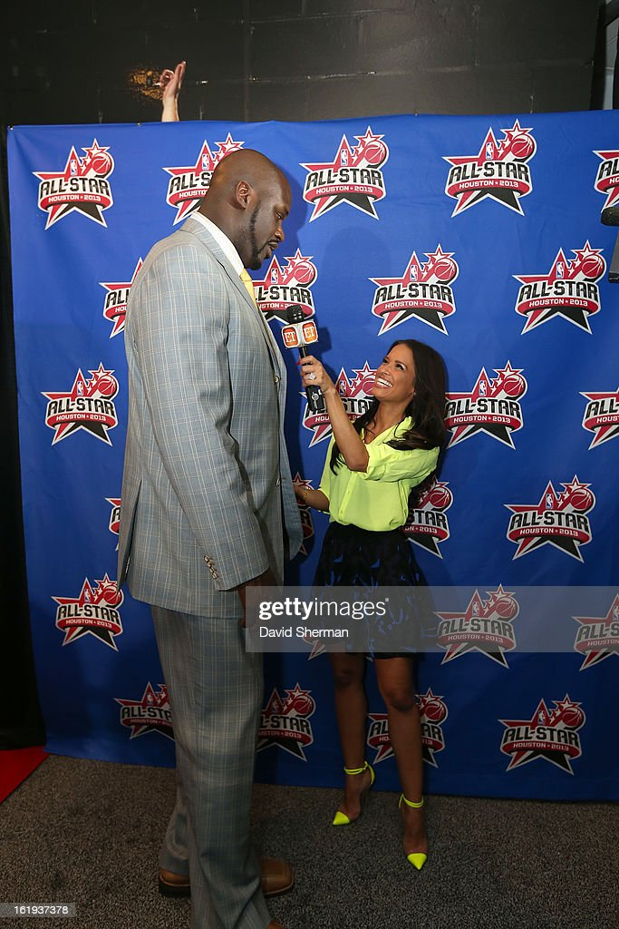 NBA Legend <a gi-track='captionPersonalityLinkClicked' href=/galleries/search?phrase=Shaquille+O%27Neal&family=editorial&specificpeople=201463 ng-click='$event.stopPropagation()'>Shaquille O'Neal</a> speaks with TV personality <a gi-track='captionPersonalityLinkClicked' href=/galleries/search?phrase=Rocsi&family=editorial&specificpeople=747177 ng-click='$event.stopPropagation()'>Rocsi</a> on the All-Star Red Carpet prior to the 2013 NBA All-Star Game presented by Kia Motors on February 17, 2013 at the Toyota Center in Houston, Texas.