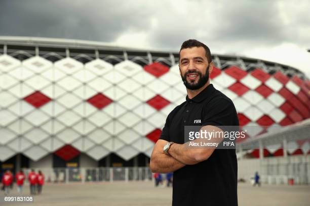 Legend Simao Sabrosa poses for a portrait after meeting volunteers working at the Spartak Stadium ahead of the FIFA Confederations Cup Russia 2017...