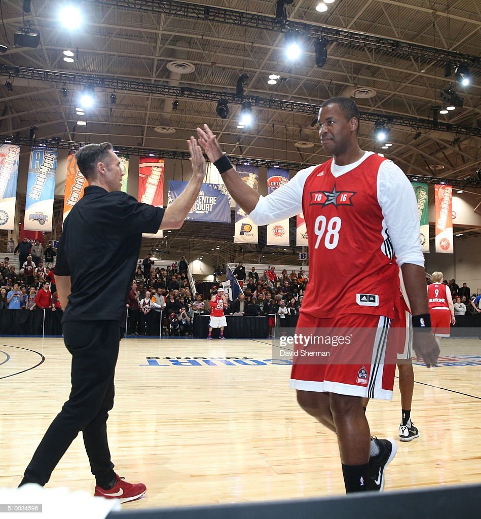 NBA Legend Steve Nash high fives Jason Collins during the NBA Cares Special Olympics Unified Game as part of 2016 All-Star Weekend at the Enercare Centre on February 13, 2016 in Toronto, Ontario, Canada.