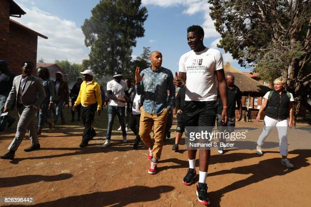 Legend Thierry Henry and Clint Capela of Team Africa interacts with the children as part of the Basketball Without Borders Africa at the SOS...