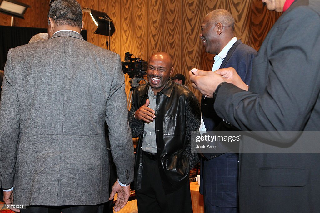 NBA Legend <a gi-track='captionPersonalityLinkClicked' href=/galleries/search?phrase=Tim+Hardaway&family=editorial&specificpeople=210592 ng-click='$event.stopPropagation()'>Tim Hardaway</a> chats at the Hall of Fame press conference during of the 2013 NBA All-Star Weekend at the Hilton Americas Hotel on February 15, 2013 in Houston, Texas.