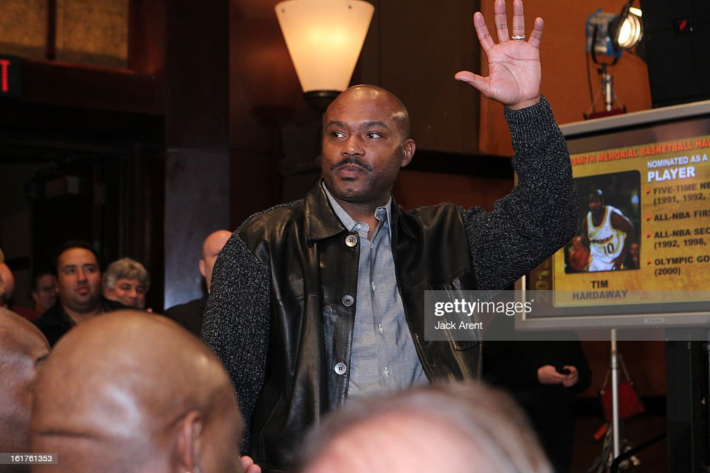 NBA Legend <a gi-track='captionPersonalityLinkClicked' href=/galleries/search?phrase=Tim+Hardaway&family=editorial&specificpeople=210592 ng-click='$event.stopPropagation()'>Tim Hardaway</a> is nominated at the Hall of Fame press conference during of the 2013 NBA All-Star Weekend at the Hilton Americas Hotel on February 15, 2013 in Houston, Texas.