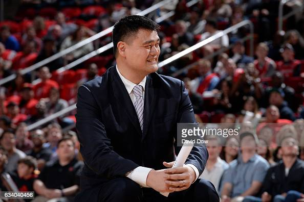 Legend Yao Ming smiles during his jersey retirement ceremony during the Chicago Bulls game against the Houston Rockets on February 3 2017 at the...