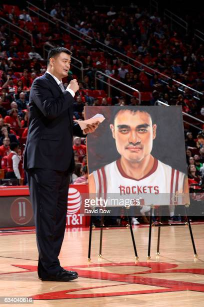 Legend Yao Ming speaks to the crowd during his jersey retirement ceremony during the Chicago Bulls game against the Houston Rockets on February 3...