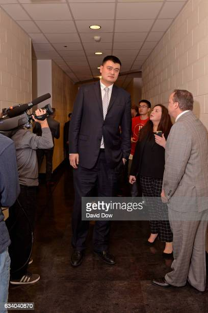 Legend Yao Ming walks in the hallways before the Chicago Bulls game against the Houston Rockets on February 3 2017 at the Toyota Center in Houston...