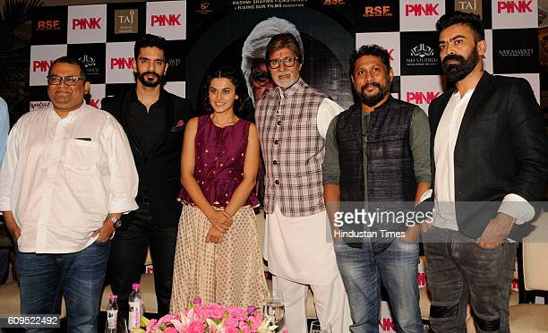 Legendary actor Amitabh Bachchan along with director Aniruddha Roy Chowdhury costars Angad BediTaapsee Pannu and producer Shoojit Sircar during a...