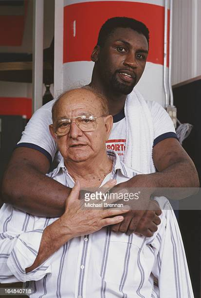 Legendary boxing trainer Angelo Dundee with British boxer Derek Williams in Miami Florida 1992