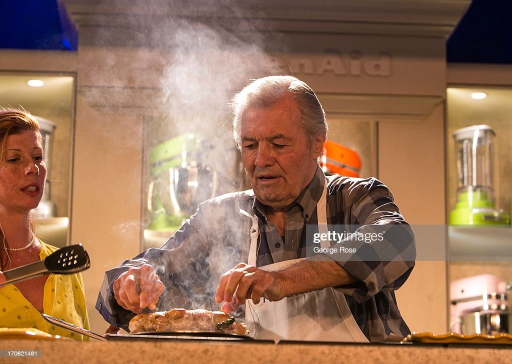 Legendary chef and cookbook author Jacques Pepin conducts a cooking demonstration with his daughter Claudine Pepin on June 14 in Aspen Colorado The...