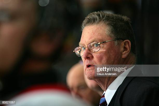Legendary Coach Brian Kilrea of the Ottawa 67's watches the play against the Peterborough Petes on October 30 2008 at the Peterborough Memorial...