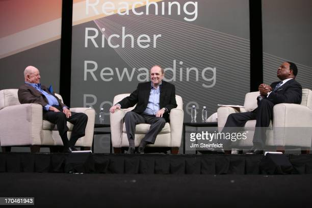 Legendary comedians Don Rickles and Bob Newhart interviewed by Sport Journalist Jim Brown at the Las Vegas Convention Center at the AARP convention...