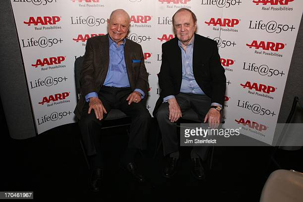 Legendary comedians Don Rickles and Bob Newhart pose for a portrait at the Las Vegas Convention Center at the AARP convention in Las Vegas Nevada on...