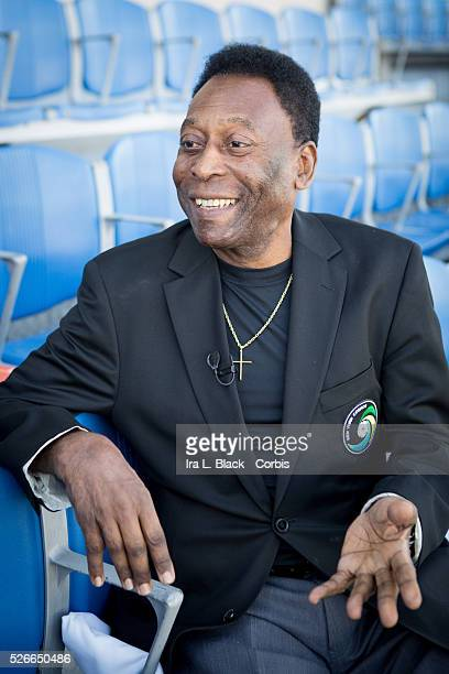 Legendary Cosmos and Brazil player Pele prior to the Soccer 2015 NASL NY Cosmos vs Tampa Bay Rowdies on April 18 2015 at James M Shuart Stadium in...