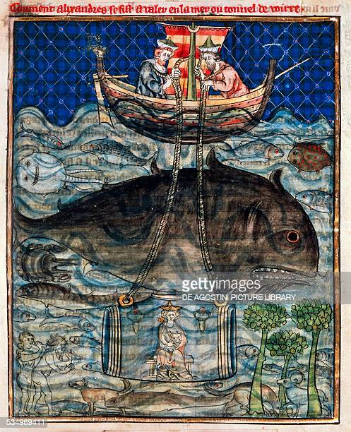 Legendary diving of Alexander the Great inside a glass barrel it by two oil lamps miniature from Histoire du bon roi Alexandre French manuscript 14th...