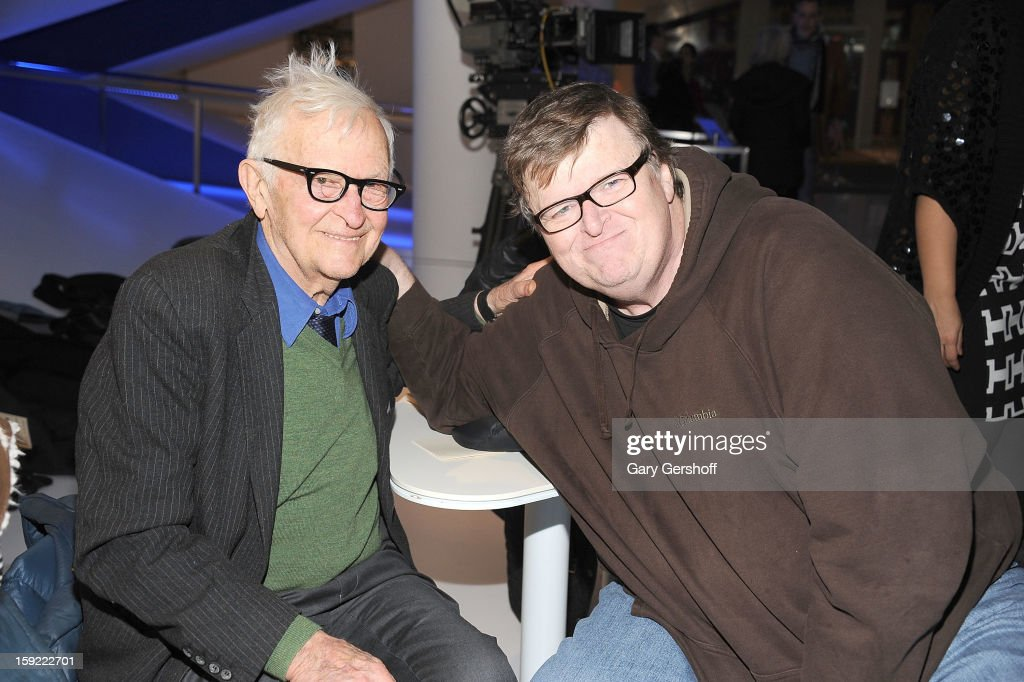 Legendary documentary filmmaker <a gi-track='captionPersonalityLinkClicked' href=/galleries/search?phrase=Albert+Maysles&family=editorial&specificpeople=683587 ng-click='$event.stopPropagation()'>Albert Maysles</a> (L) and Michael Moore attend the 6th annual Cinema Eye Honors For Nonfiction Filmmaking at Museum of the Moving Image on January 9, 2013 in the Queens borough of New York City.