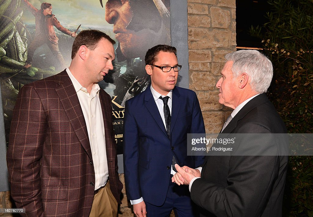 Legendary Entertainment Thomas Tull, director Bryan Singer, and Warner Bros. Pictures Distribution President Dan Fellman attend the premiere of New Line Cinema's 'Jack The Giant Slayer' at TCL Chinese Theatre on February 26, 2013 in Hollywood, California.