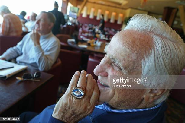 Legendary exMiami Dolphins coach Don Shula sporting his Pro Football Hall of Fame ring gets together about once a month with former quarterback Bob...