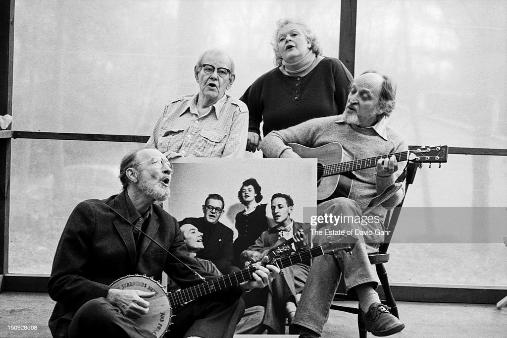 Legendary folk music vocal group The Weavers (l-r: <a gi-track='captionPersonalityLinkClicked' href=/galleries/search?phrase=Pete+Seeger&family=editorial&specificpeople=213821 ng-click='$event.stopPropagation()'>Pete Seeger</a>, Lee Hays, <a gi-track='captionPersonalityLinkClicked' href=/galleries/search?phrase=Ronnie+Gilbert&family=editorial&specificpeople=818780 ng-click='$event.stopPropagation()'>Ronnie Gilbert</a>, Fred Hellerman) pose for a portrait on February 10, 1981 in Croton-on-Hudson, New York. The Weavers would reunite only one more time for a final concert in June 1981.
