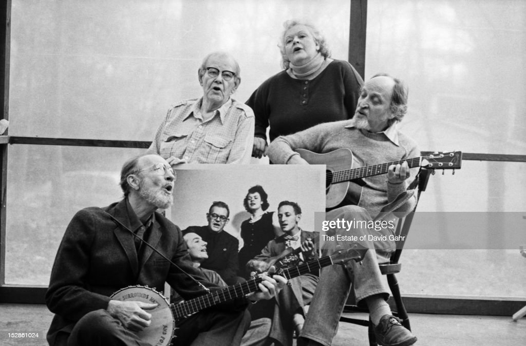 Legendary folk music vocal group The Weavers (l-r: <a gi-track='captionPersonalityLinkClicked' href=/galleries/search?phrase=Pete+Seeger&family=editorial&specificpeople=213821 ng-click='$event.stopPropagation()'>Pete Seeger</a>, Lee Hays, <a gi-track='captionPersonalityLinkClicked' href=/galleries/search?phrase=Ronnie+Gilbert&family=editorial&specificpeople=818780 ng-click='$event.stopPropagation()'>Ronnie Gilbert</a>, Fred Hellerman) pose for a portrait on February 10, 1981 in Croton-on-Hudson, New York. The Weavers would reunite only one more time for a final concert in June, 1981.