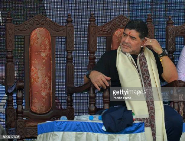 Legendary former footballer of Argentina Diego Maradona presents a program at Sreebhumi Sporting Club in Bidhan Nagar He will play a charity football...