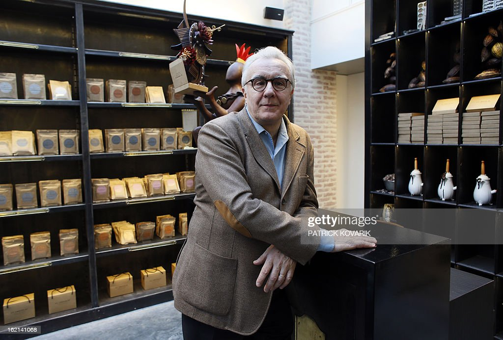 Legendary French chef Alain Ducasse poses in his new establishment, the 'Manufacture de chocolat' (Chocolate Factory), on February 19, 2013 in Paris.