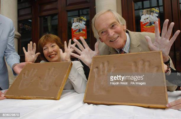Legendary Irish actors and comedians Rosaleen Linehan and Des Keogh after having their hand prints taken outside which are to be cast in bronze and...