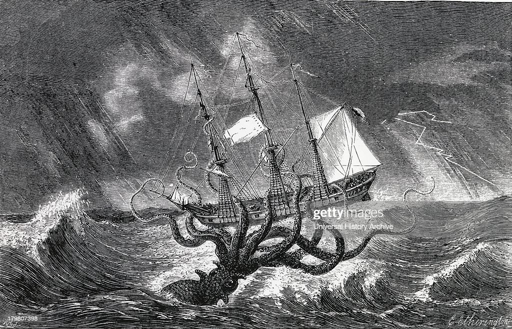 Legendary Kraken monster of the deep pictured as a giant squid Engraving 1870