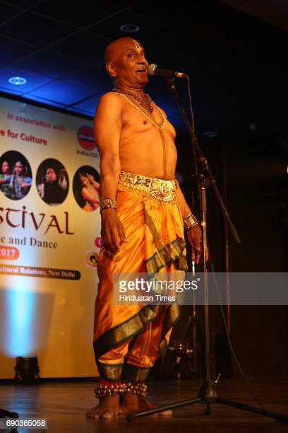 Legendary Kuchipudi dance artist Raja Reddy performs during the UMAK festival at Indian Council for Cultural Relations on May 27 2017 in New Delhi...
