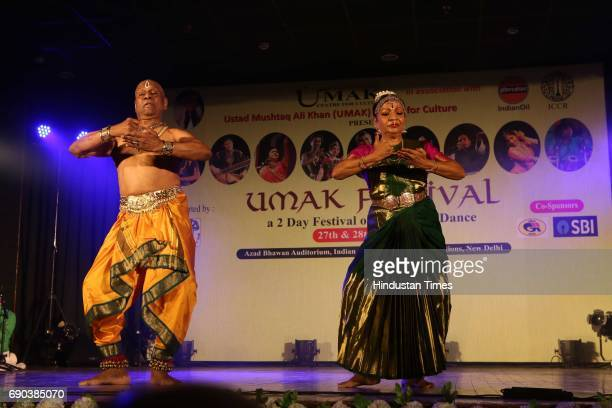 Legendary Kuchipudi dance couple Raja and Radha Reddy perform during the UMAK festival at Indian Council for Cultural Relations on May 27 2017 in New...