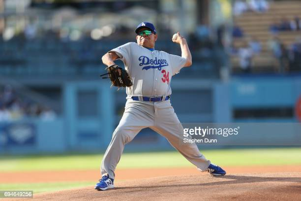 Legendary Los Angeles Dodgers pitcher Fernanado Valenzuela throws a pitch during the Dodgers Old Timer's game at Dodger Stadium on June 10 2017 in...
