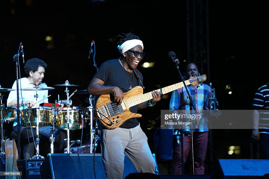 Legendary musician and Jazz bassist <a gi-track='captionPersonalityLinkClicked' href=/galleries/search?phrase=Richard+Bona&family=editorial&specificpeople=2312158 ng-click='$event.stopPropagation()'>Richard Bona</a> performs on stage at Wayne State at the 36th Annual Detroit Jazz Festival on September 6, 2015 in Detroit, Michigan.