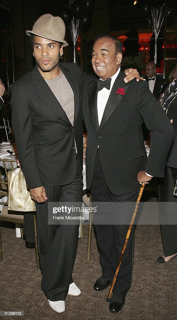 Legendary musician Bobby Short and musician Lenny Kravitz at the surprise 80th birthday party for Short, September 12, 2004 at the Rainbow Room in New York City.