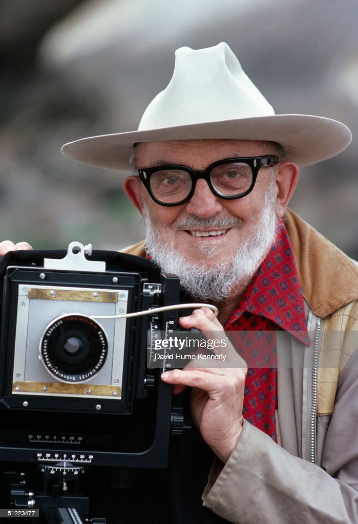 Legendary photographer <a gi-track='captionPersonalityLinkClicked' href=/galleries/search?phrase=Ansel+Adams&family=editorial&specificpeople=125124 ng-click='$event.stopPropagation()'>Ansel Adams</a> with his large format camera September 3, 1979 in Point Lobos (south of Carmel), California. Adams, born in San Francisco, was a commercial photographer for 30 years. He created photos of western landscapes that were inspired by a trip to Yosemite, California as a child. He won three Guggenheim grants to photograph the national parks (1944--58), served on the board of the Sierra Club (1934-71) and founded the f/64 group with Edward Weston in 1932. Adams passed away April 22, 1984 of heart failure aggravated by cancer.