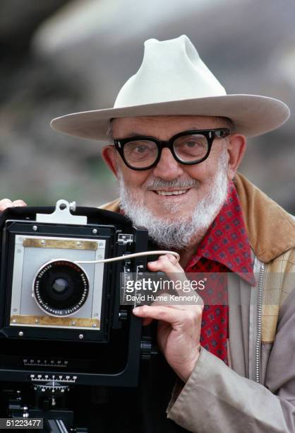 Legendary photographer Ansel Adams with his large format camera September 3 1979 in Point Lobos California Adams born in San Francisco was a...