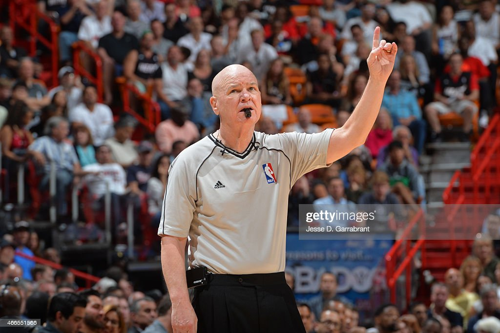Legendary Referee <a gi-track='captionPersonalityLinkClicked' href=/galleries/search?phrase=Joey+Crawford&family=editorial&specificpeople=559119 ng-click='$event.stopPropagation()'>Joey Crawford</a> calls a foul during the game where the Miami Heat against the Cleveland Cavaliers at the American Airlines Arena on March 16, 2015 in Miami ,Florida.NOTE