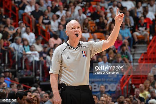 Legendary Referee Joey Crawford calls a foul during the game where the Miami Heat against the Cleveland Cavaliers at the American Airlines Arena on...