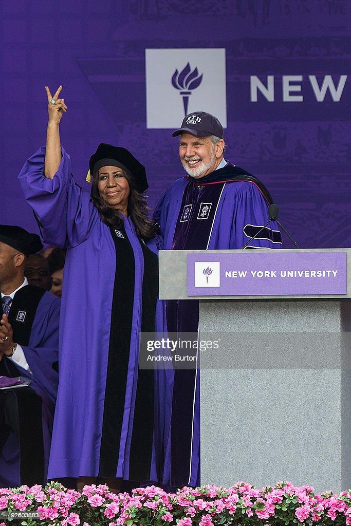 Legendary singer <a gi-track='captionPersonalityLinkClicked' href=/galleries/search?phrase=Aretha+Franklin&family=editorial&specificpeople=210665 ng-click='$event.stopPropagation()'>Aretha Franklin</a> receives an honorary doctorate during the 2014 graduation ceremony for New York University at Yankee Stadium on May 21, 2014 in the Bronx borough of New York City. Janet Yellen, Chair of the Board of Governors of the Federal Reserve System, received an honorary doctorate and was the 2014 commencement speaker.