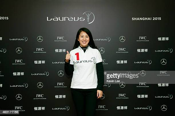 Legendary speed skater and International Olympic Committee member Yang Yang poses for a picture before Laureus Nominations Press Conference at the...