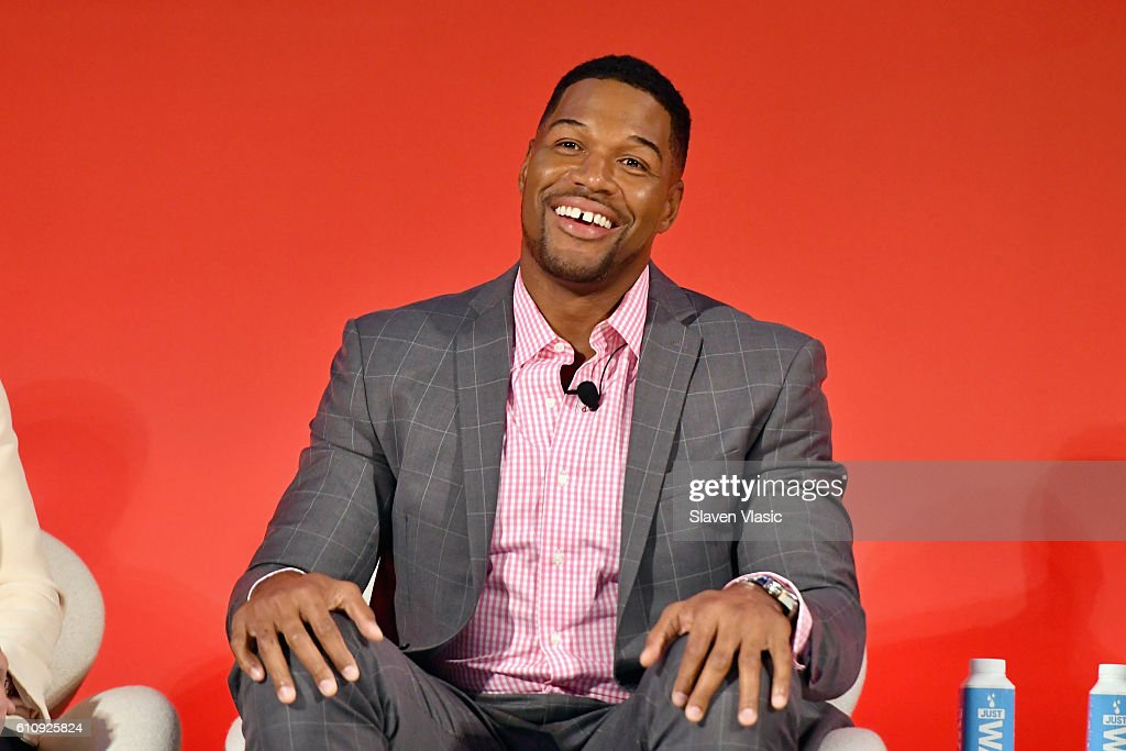 Legendary Super Bowl Champion & Emmy-nominated Fox NFL Sunday Analyst Michael Strahan speaks onstage at the Fox NFL Town Hall panel at The Town Hall during 2016 Advertising Week New York on September 28, 2016 in New York City.