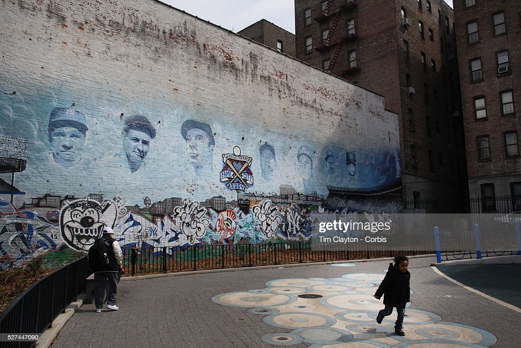 Legendary Yankee Players Murals On A Playground Wall In The Bronx Near Yankee  Stadium Before The Part 50