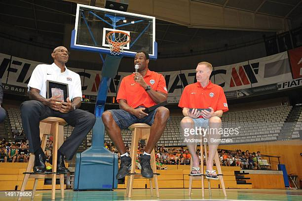 Legends and former 1992 Dream Team members Clyde Drexler David Robinson and Chris Mullin speak at the arena in Badalona Spain where their games were...