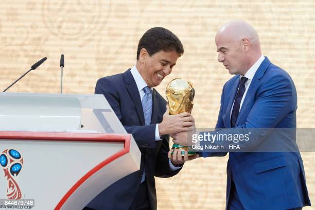 Legends Bebeto gives a Trophy to FIFA President GianniInfantino during FIFA World Cup Trophy Tour at Luzhniki stadium on September 9 2017 in Moscow...