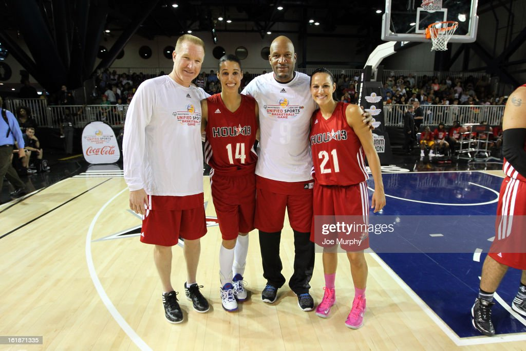 NBA Legends Chris Mullins and Ron Harper pose with WNBA players Ticha Penicheiro and Nicole Powell during the NBA Cares Special Olympics Unity Sports Basketball Game on Center Court during the 2013 NBA Jam Session on February 17, 2013 at the George R. Brown Convention Center in Houston, Texas.