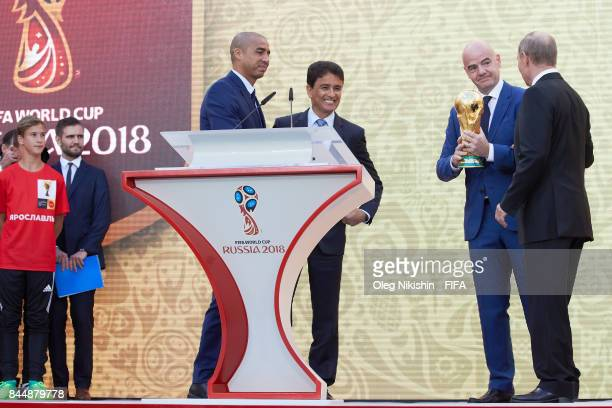 FIFA Legends David Trezeguet Bebeto FIFA President GianniInfantino and Russian Federation President Vladimir Putin on th stage during FIFA World Cup...