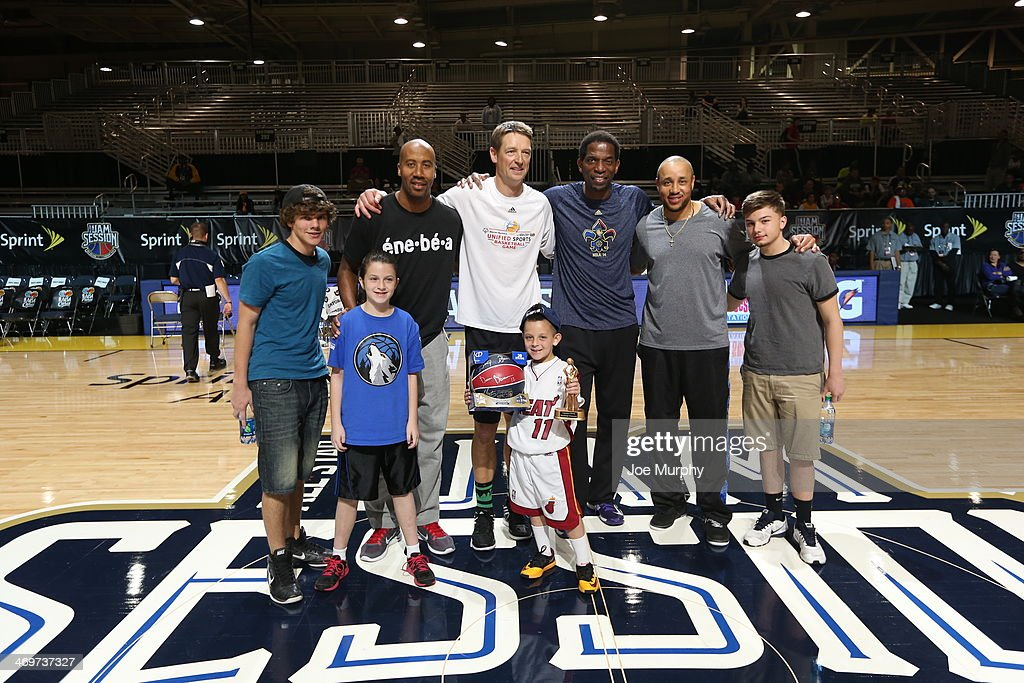 NBA Legends Detlef Schrempf, John Starks, Bruce Bowen and A. C. Green pose for a photo after the Legends 3-Point Challenge at Sprint Arena during the 2014 NBA All-Star Jam Session at the Ernest N. Morial Convention Center on February 16, 2014 in New Orleans, Louisiana.