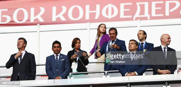 FIFA Legends Dimas and Jorge Campos Fernando Gomes President of the Portuguese Football Federation and Gianni Infantino FIFA president are seen prior...