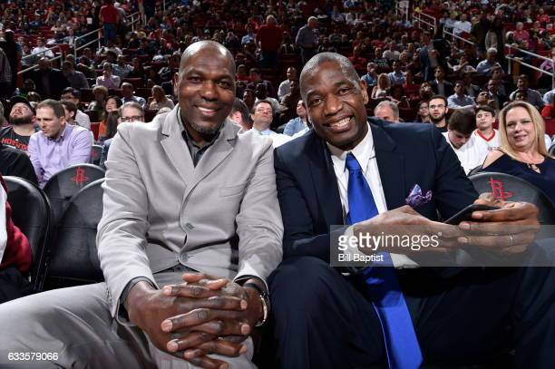 Legends Hakeem Olajuwon and Dikembe Mutombo attend the Sacramento Kings game against the Houston Rockets on January 31 2017 at the Toyota Center in...